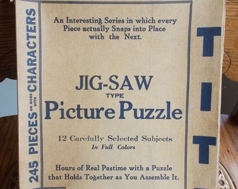 Lox-Tite Jigsaw Picture Puzzle Vintage 1930s Western Paper Box Co Checkerboard Puzzle Co Detroit MI US Shipping Included