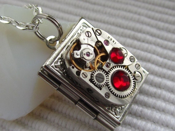 Steampunk book locket necklace with vintage watch  movement and  Ruby Red  Swarovski crystals, Gift for Her, Birthday gift, Silver locket
