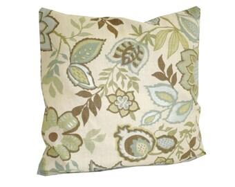 THROW PILLOW sham / cover 18x18 Blue Green Brown Floral print