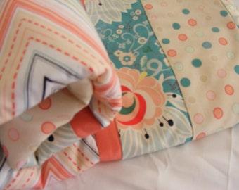 Baby Bedding Crib Set Modern Coral Peach Aqua Mint Prints