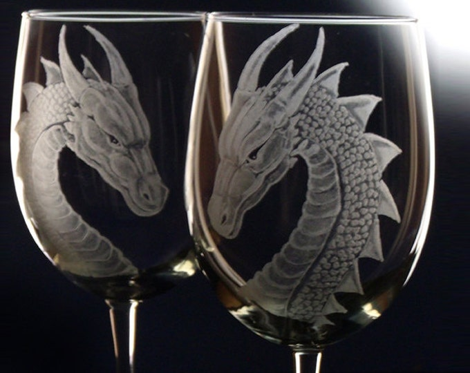 Dragon wine glass set set of 4 housewares dining entertaining , host hostess gift  bridal shower , wedding kitchen clear glasses drinkware