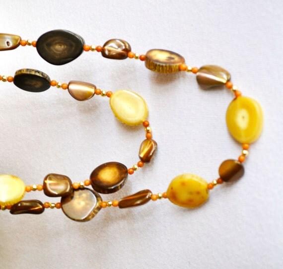 Faux Petrified Wood Necklace, Vintage Jewelry, Native Design, ESTATE SALE, Item No. B508