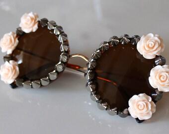 Peach Rose & Silver Studded Round Tortoise Sunglasses