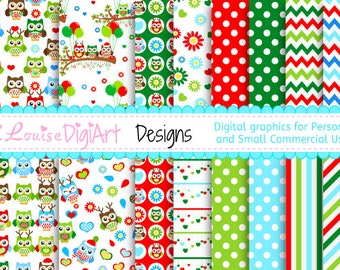 Digital Owl Christmas patterned papers in 8.5 by 11 and 12 by 12 for Personal and Small Commercial Use