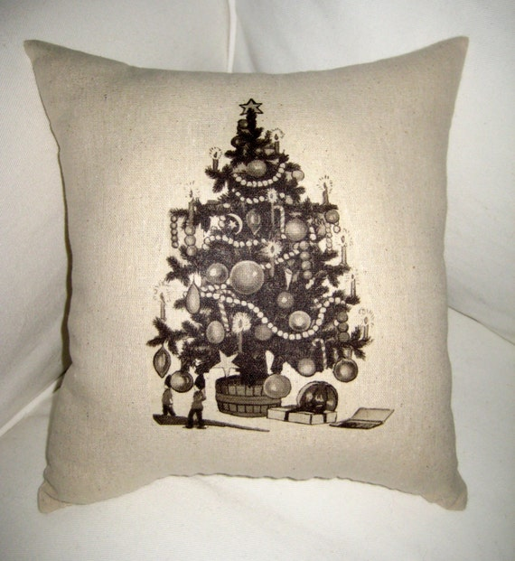 Shabby Chic Christmas Pillows : Shabby Chic Christmas Pillow French Country Farmhouse Burlap