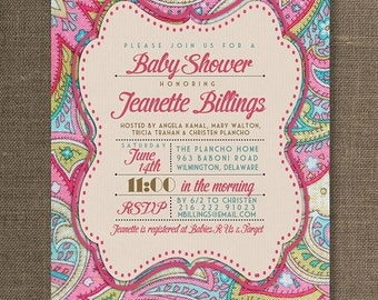 Pink Paisley Baby Shower Invitation Linen Texture Typography Baby Girl  Sprinkle Pink Fuchsia DIY Digital Or