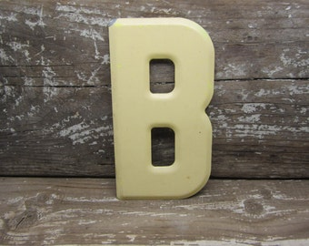 metal letter sign vintage letter b sign small size 5 12 inch yellow marquee sign letter sign wall art alphabet letters vintage number sign