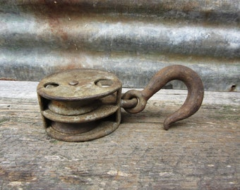 Vintage Antique Barn Pulley Hay Loft Hook Industrial Factory Rope Pulley All Metal Old Time Wheel VTG Nautical Farm Industrial Decor Rustic