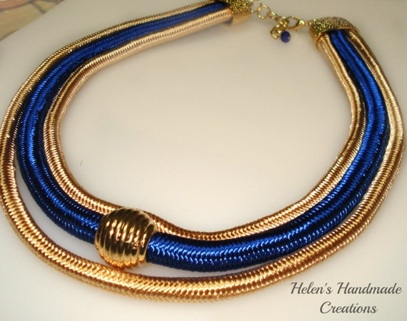 RESERVED sale item 30% OFF Gold and blue triple rope statement necklace
