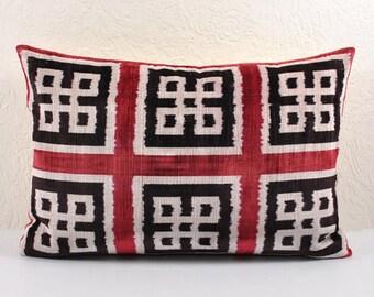 Handmade Velvet Silk Ikat pillow cover Lp9a, Bohemian pillow