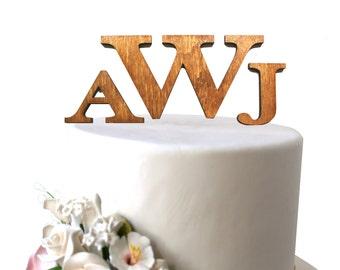 Rustic Wood Initials Cake Topper Monogram