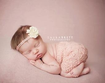 Knitting Pattern - Newborn Photography Prop - Newborn Criss Cross Romper
