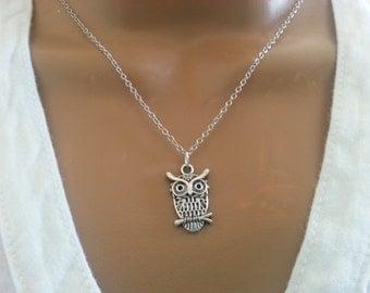 Antique Silver Owl Necklace