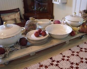 Beautiful Vintage Bavarian Elfenbein Porcelain Partial Dinnerware Set in Cream and Gold ~ STUNNING