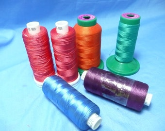 Madeira Classic, Polyneon, Isacord 40 Viscose Embroidery Thread, Asst. Orange Red Blue Purple 4