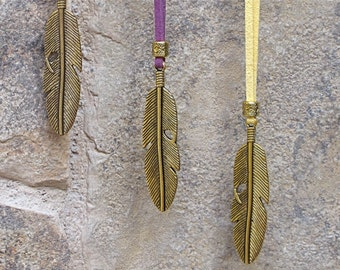 Feather Necklace, Gold Feather Pendant, Tribal Necklace, Festival Necklace, Festival Jewelry, Ready to Ship, TEN COLORS OFFERED