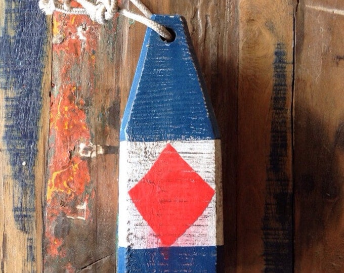 "Coastal Decor, 11"" Lobster Buoy White Blue Red, Nautical Wooden by SEASTYLE"