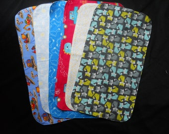 CLEARANCE: Fox and Assorted Baby Boy Burp Cloths, Ready to Ship, Set of Six, dinosaurs, construction trucks