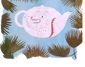 Un thé sous les feuillages (original illustration)