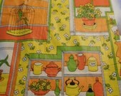 Vintage Luster Gleam cotton fabric, Bird Cage, Plants, Teapots