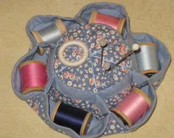 Vintage Pincushion and Thread Holder Wood Spools Pink and Blue Cotton Calico Fabric