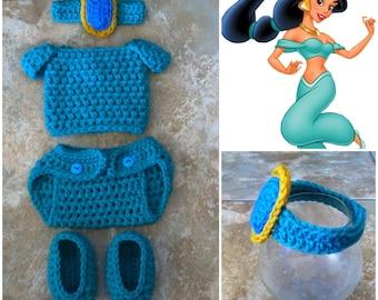 Crochet Disney's Jasmine Outfit (Jewel Headband, top, diaper cover and booties)