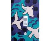 Light Switch Plate Cover / Flying High Birds in Smokey Turquoise / Baby Nursery Kids Room / Alexander Henry