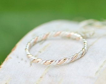 Two Toned Twist Stackable Ring, Stacker Ring,  Twist Ring, Thumb Ring, Gold Filled, Knuckle Ring, Midi Ring, Silver Ring