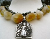 KALI  Goddess Necklace with Matte Citrine, Pyrite, Sandalwood, Chunks of Emerald