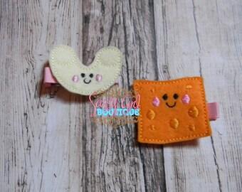 Girl Hair Accessories-Mac N Cheese-Embroidered Felt Food Hair Clip- Boutique Felt Piggy Set Hair Clippie-No slip grip