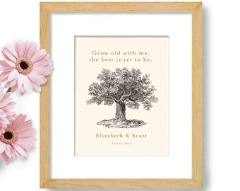 Personalized Wedding Gift Unique Wedding Gift for Couples Happily Ever After Engagement Gifts Oak Tree Anniversary Gift Romantic Gift