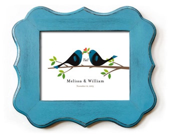 Unique Engagement Gift Wedding Gift for Couple She Said Yes with Personalized Lovebirds Mr and Mrs Date of Wedding