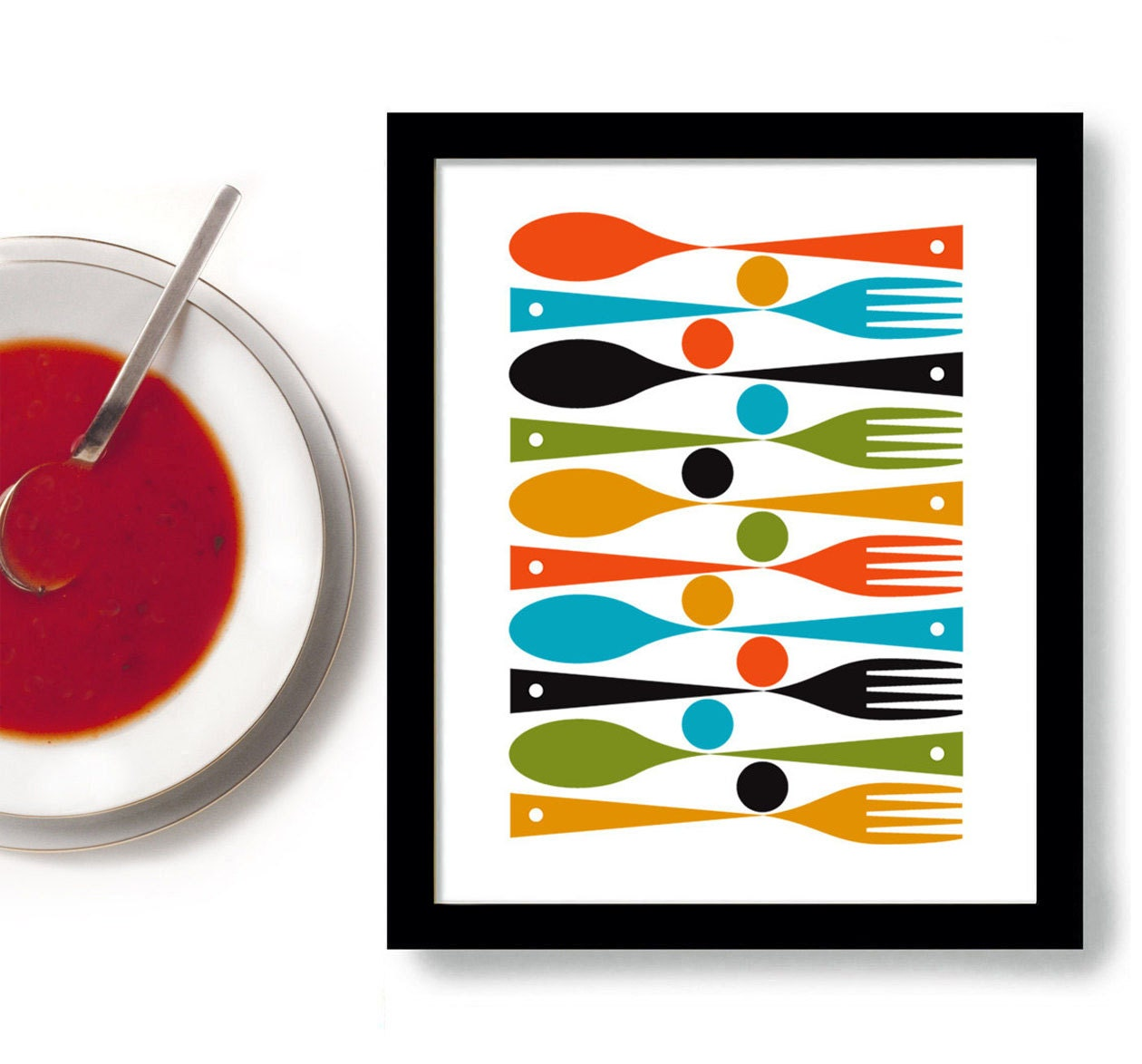 Kitchen art print mid century modern kitchen decor by dexmex for Colorful kitchen wall decor