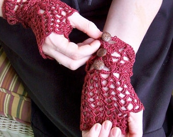 Alice in Wonderland Tea Party Lace Fingerless Gloves- silk and sea cell lace