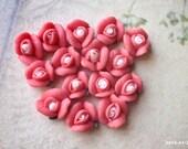8 mm Coral Color Tiny Flat Back Porcelain Roses (.tm)