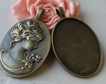 32 x 51 mm (Fit for 40 x 30 cabochon) Antiqued Bronze Oval Shape Charm Base Setting / Pendant (.ig).