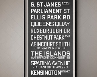 Toronto, Vintage Bus List / Destination Blind / Subway Art - Wall Art 3