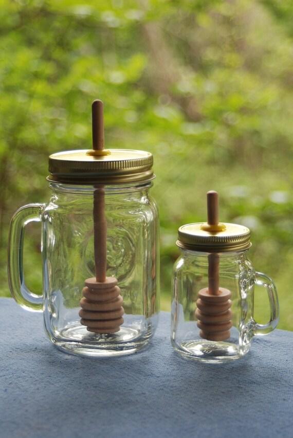 1 Big Mug Mason Jar Honey Pot Amp 1 Mini With Birch Dipper