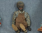 """Primitive 9"""" Jointed Black Man Doll made of Wood Cloth and Composition, Black Americana, Weird"""