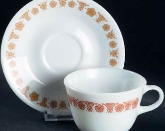 Corelle Butterfly Gold Cup and Saucer TWO Sets Mid Century Glass Pyrex Kitchen Glassware Golden Butterfly Corelle