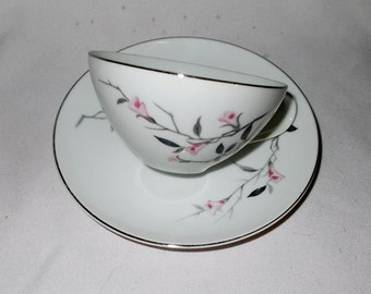 Cherry Blossom Teacup Fine China Japan Vintage Replacement Cup & Saucer Platinum Trim Porcelain Dinnerware Shipping Included In Price