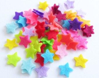 Felt Star MINI bright colors, set of 70 pieces