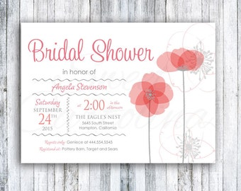 Bridal Shower Invitations - 20 5x7 - Poppy Flowers