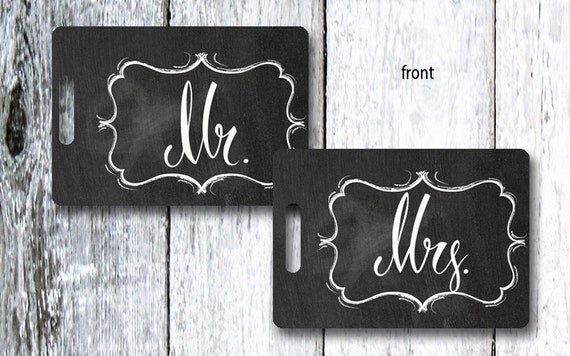 Chalkboard Mr. and Mrs. Luggage Tags