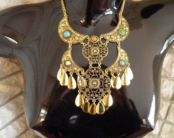 SALE******Cleopatra Bib Necklace with Faux Turquoise and Coral*********Was 125.00*****Now