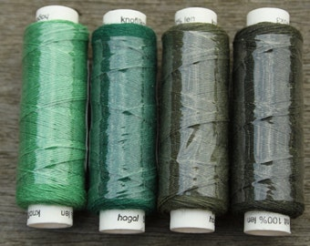Four spools of linen thread - greens colourway