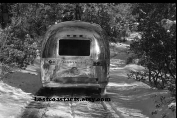 Airstream Glamping Photograph In The Snow 1971 Vintage Trailer Beautiful Scenery Black And White Upcycled Fine Art Junk Gypsies Dream