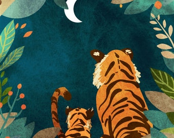 Tigers at Night - Vertical Print