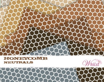 Digital paper brown honeycomb digital paper kraft gold gray digital paper chocolate : L0739 v301 3sNeutral