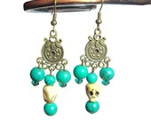 Turquoise beaded french hook earrings